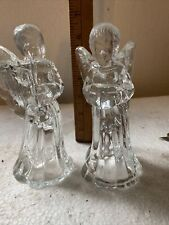 1 Pair Crystal Glass Angel Candle Holders