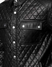 Mens ASOS Black Quilted Leather Look Jacket - Medium UK Size