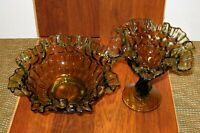 Vintage Fenton Colonial Green Ruffled Edge Comport and Bowl
