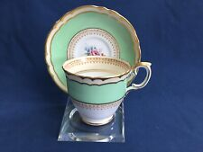 Crown Staffordshire Cup & Saucer wide Green Band Gold Trim Floral Decoration