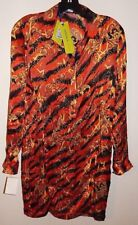 VERSACE JEANS SILK DRESS sz 40(US 4) AUTHENTIC MADE IN ITALY NEW$625 GREAT DEAL