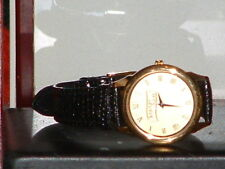 New Casual Gold Tone Spartan Stores Leather Band Quartz Watch