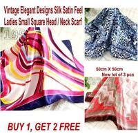 Lot 3 Pcs New Fashion Elegant Silk Satin Womens Small Square Head Neck Scarf 150
