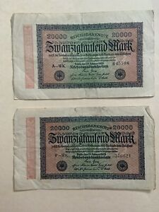 Lot Currency Germany 1923 Reich Banknote 20000 Reichsmark Reich Bank Circulated