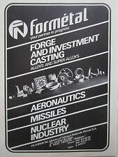 4/1981 PUB FN FORMETAL HERSTAL FORGE CASTING AERONAUTICS MISSILE NUCLEAIRE AD