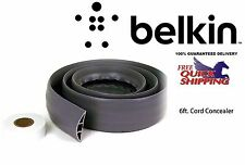 Belkin Cord Concealer Computer Cable Cover 6 Feet Grey Trip Free Floor Safe Wire