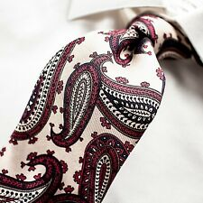 ROBERT TALBOTT  Nordstrom Ivory with Burgundy Purple Black and Taupe Paisley Tie