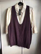 Cream long sleeve blouse & aubergine waistcoat Trinny & Susannah UK 20 BNWT