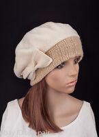M484 Women Ladies Warm Cashmere Wool Winter Beret Beanie Hat SKI Cap Cute Bow