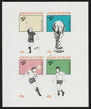 GB Locals STAFFA  7493 - 1982 FOOTBALL WORLD CUP imperf sheetlet of 4 u/mint