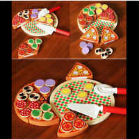 Wooden Pizza Play Food Set Wooden Toy Kids Pretend Kitchen Childrens Cooking HE