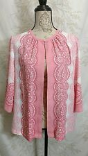 BOB MACKIE WEARABLE ART Jacket Sz. M Pink White Print Open Front Top Button