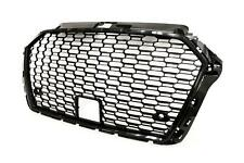 Audi A3 17- Gloss Black Frame Front Grille Grill RS Look With PDC Holes