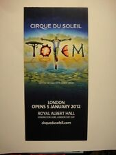 CIRQUE DU SOLEIL FLYER FROM 2012 - TOTEM - ROYAL ALBERT HALL JANUARY 2012