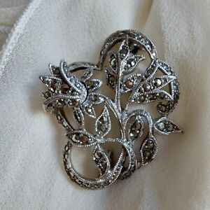 Vintage  Flower/ Floral Brooch, Silver Tone  Marcasite, Pretty Dainty Gift