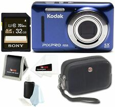 Blue Friendly Zoom Digital Camera with 32GB Card and Case Bundle, 2.7