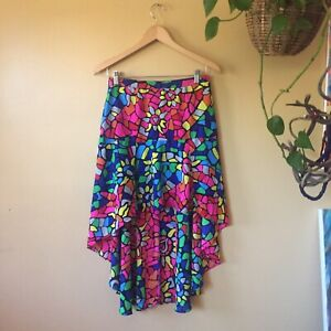 L'amour Mosaic Colorful High Low Skirt Sz M