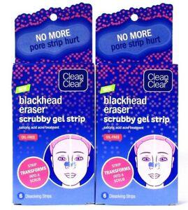 2 Boxes Clean & Clear 6 Count Blackhead Eraser Scrubby Gel Strip No More Hurt