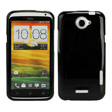 Fosmon TPU Glossy Protector Case Cover Skin for HTC One X - Solid Blac