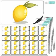 480x Lemon Stickers (38 x 21mm) Self Adhesive Fruit Labels By Label Create