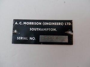 Old Aluminium Makers Plate. A.C.Morrison Ltd. Southampton.