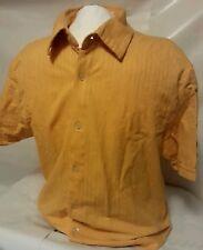 Calvin Klein Men's Short Sleeve Orange Button Down Shirt Size Large