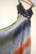 Lulu H Paris Superbe Inhabituel Robe Longue-petite taille-Vert Orange Noir Dentelle