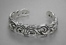 High Class Oxidized Men's Bangle Bracelet - Sterling Silver .925 BIKER ROCK