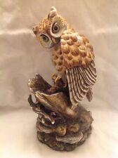 "LG VTG Boehm porcelain OWL Bird Statue Figure Dbl Signed Ltd Edition 11"" Chipped"