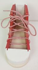 Melisa & Doug wooden sneaker red & white educational how to lacing shoe tieing