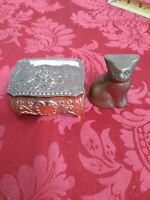 Vtg Trinket Jewelry Box and Cat Footed Hinged Japan Velvet Red Lined Gift