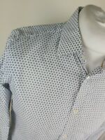 Mens Ted Baker Targetz Geometric Floral Shirt White 3 Medium 40 Chest Vgc