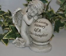 IN LOVING MEMORY OF A DEAR DAUGHTER - memorial cherub on a ball ornament plaque