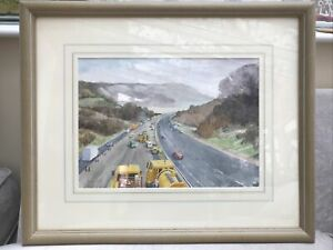 Original Watercolour - M25 Roadworks Oxted By Janet Ross