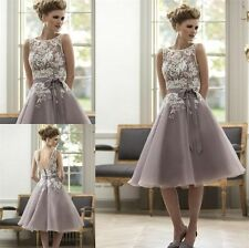 Vintage White Lace Tea length Bridesmaid A Line Prom Formal Party Evening Dress