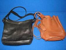 2 Vintage Coach Handbag LOT Black Brown Leather Duffel Bag Drawstring Bixby 9984