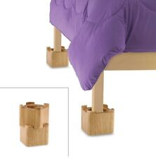 "Set Of 4 Wooden Bed Lifts Natural Wood Finish Add 3.5"" Space"