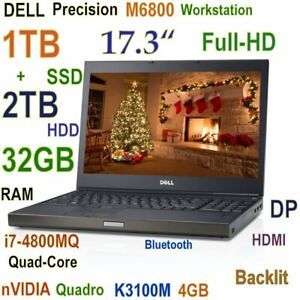 "Workstation DELL M6800 17.3"" FHD i7-2.8GHz 1TB SSD + 2TB 32GB Quadro K3100M 4GB"