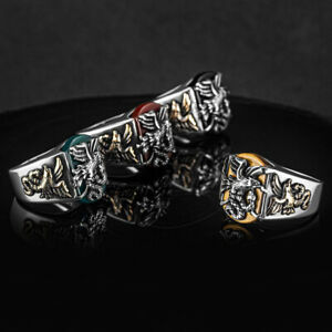 Solid 925 Sterling Silver Eagle Snake Agate Tiger's Eye Onyx Stone Men's Ring