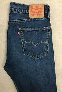 Levis 505 Regular Straight Denim Jeans Mens W36 L32 Dark Blue Red Tab Stretch