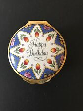 Halycon Days English Enamel Round Box -Happy Birthday