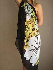 40346 - Black Floral Design Swimwear Beach Scarf Sarong Wrap Cover Over O/S