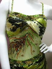 ULTRA-STUNNING! GREEN BEADED FORMAL/PROM/EVENING GOWN SEE-THROUGH WAIST AU14US12