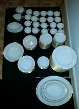 Vintage Noritake China 122 Piece Guilford Pattern Number 5291 White and Gold