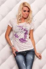 mujer en Blanco Informal Cuello Redondo Floral Camiseta manga corta talla única
