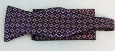 New Classic Fashion Stylish Woven Men's Bow Tie Purple Squares Matching Hanky