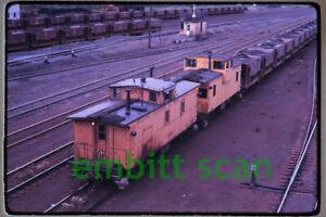 Original Slide, DM&IR Cabooses C-189 and C-210 at Proctor MN, 1967