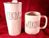Rae Dunn Weekend Mug & Weekday Lidded Travel Cup Artisan Farmhouse Set