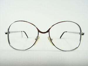 Vintagebrille Metall Damen 70er Jahre Brille neu silberfarben große Gläser Gr. M