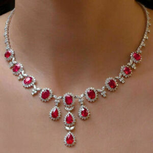 14k White Gold Over 55 Ct Multi Cut AAA Ruby & Diamond Tear-Drop Collar Necklace